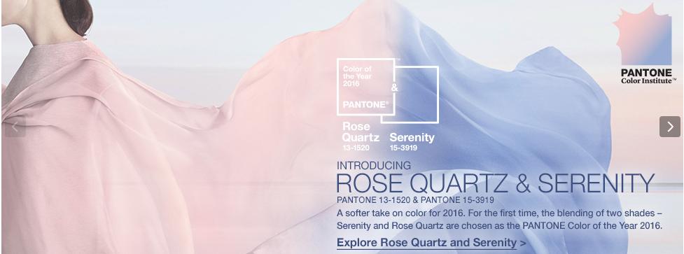 Couleur de l'année Pantone 2016. Bleu Serenity et Rose quartz.